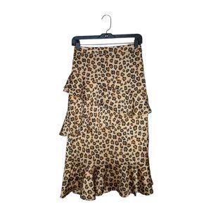 &Merci Leopard Tiered Midi Skirt Size Small